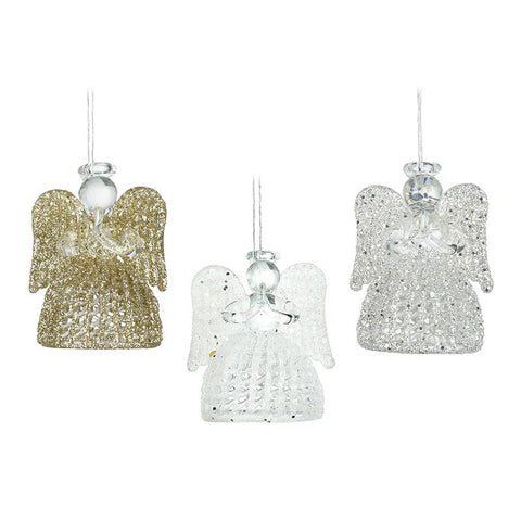Set Of 3 Hanging Glass Angels