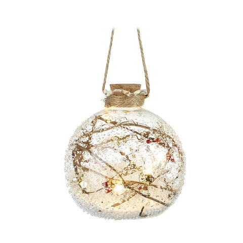 Hanging Glass Light Up Bauble With Snow