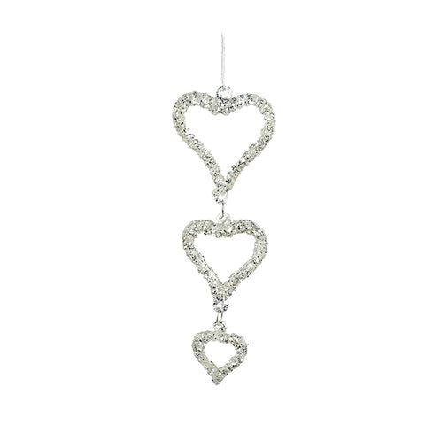Hanging Silver 3 Heart Decoration