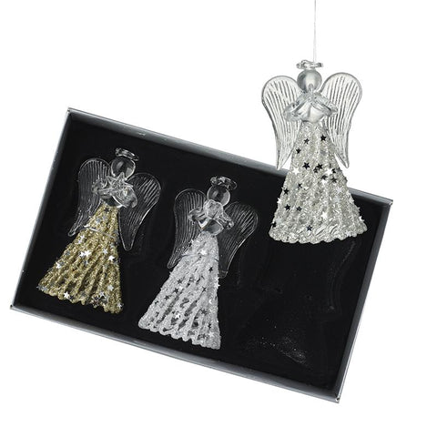 Set Of 3 Glass & Sequin Angel Tree Decor