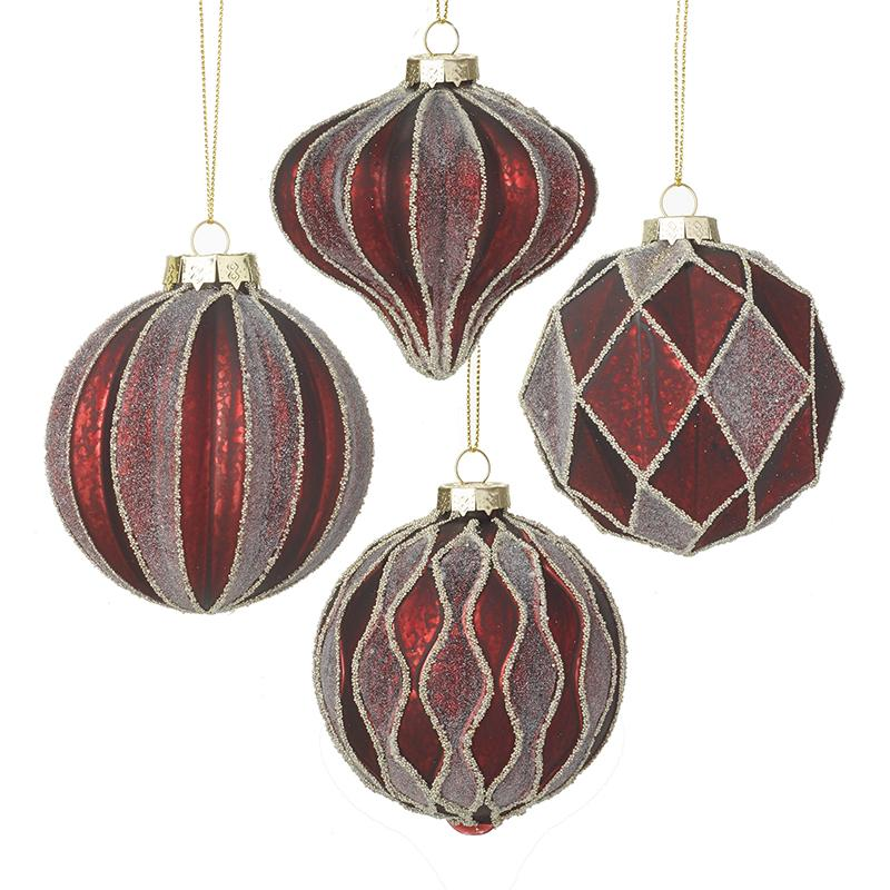 Set Of 4 Red & Glittered Glass Baubles