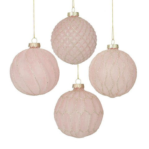 Set Of 4 Pink Glittered Glass Baubles
