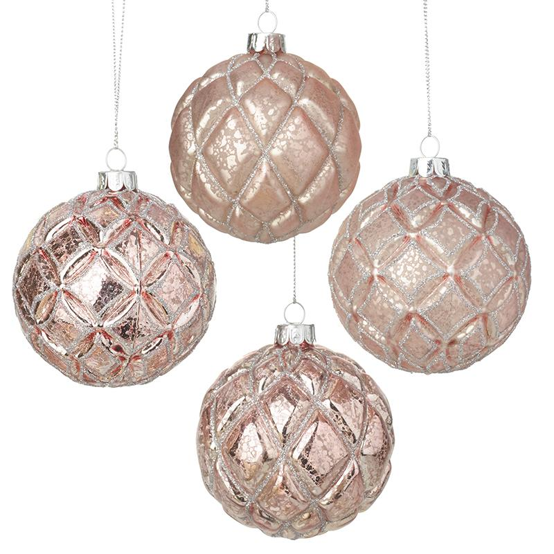Set Of 4 Pink Glass Baubles