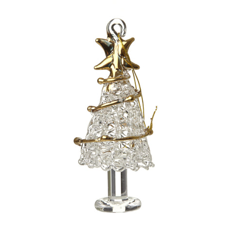Glass Christmas Tree with Gold Garland Decoration