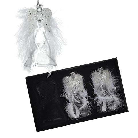 Glass Angels With Feather Wings Set