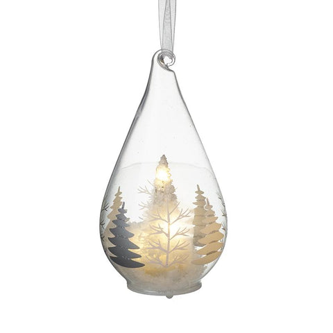 Light Up Glass Bauble With Tree Scene