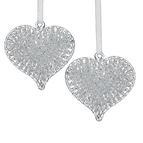 Hanging Glass Heart Set Small
