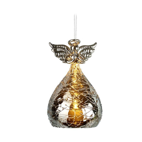 Silver Glass Light Up Angel
