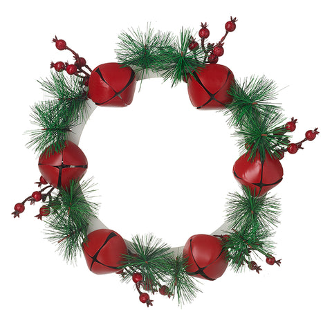 Metal Bell Wreath with Fir & Berries