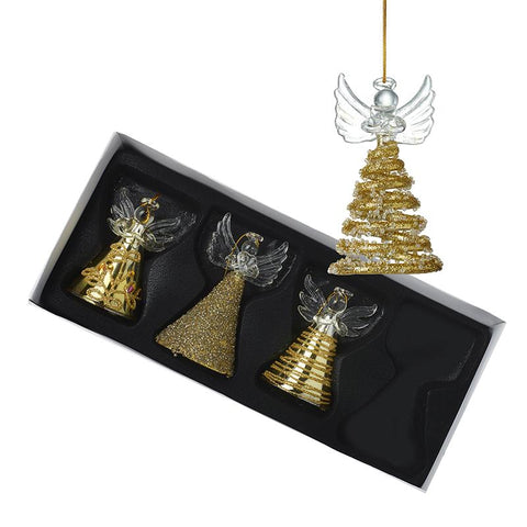 Gold Hanging Glass Angels S/4