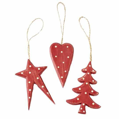 Wooden Red Star Tree & Heart Hanger Mix