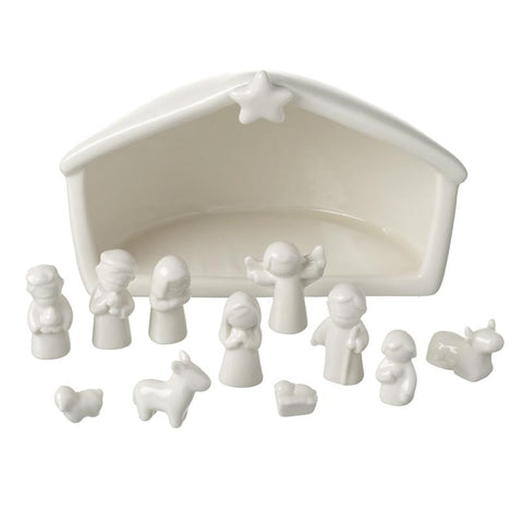 White Porcelain Nativity Set