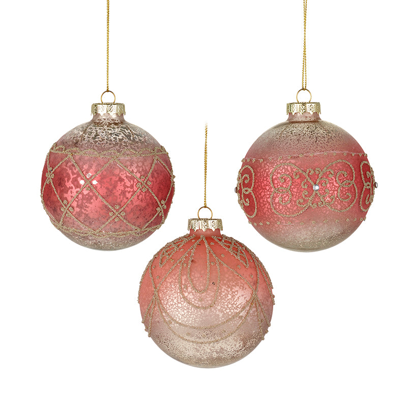 Pink Glass Hanging Baubles