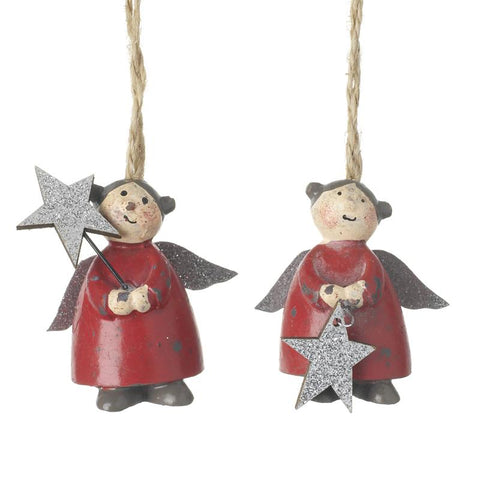 Hanging Red Resin Angels With Stars Mix