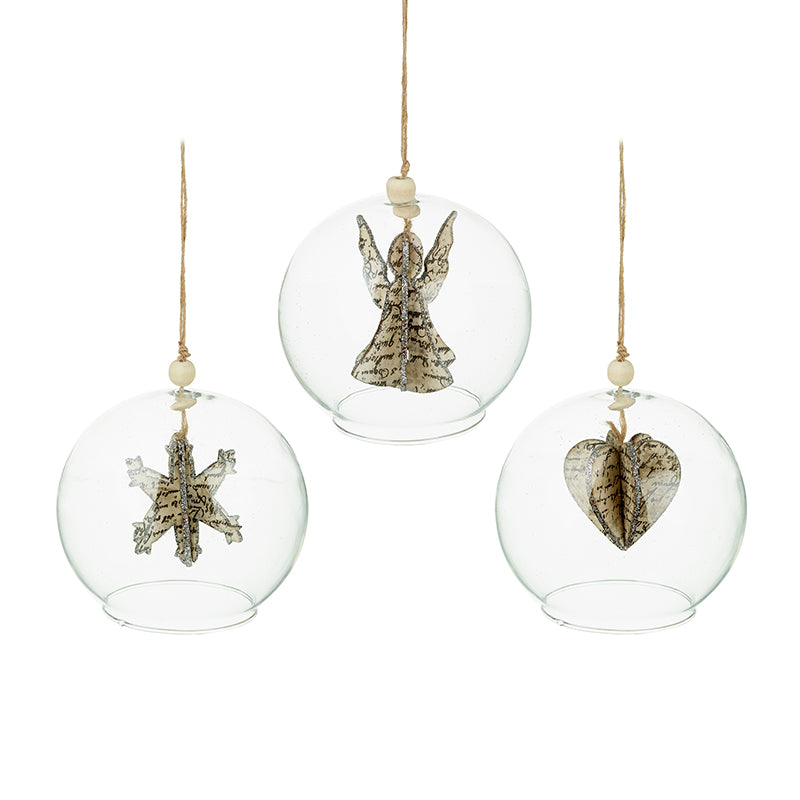 Mix of 3 Antique Paper Hanging Glass Baubles