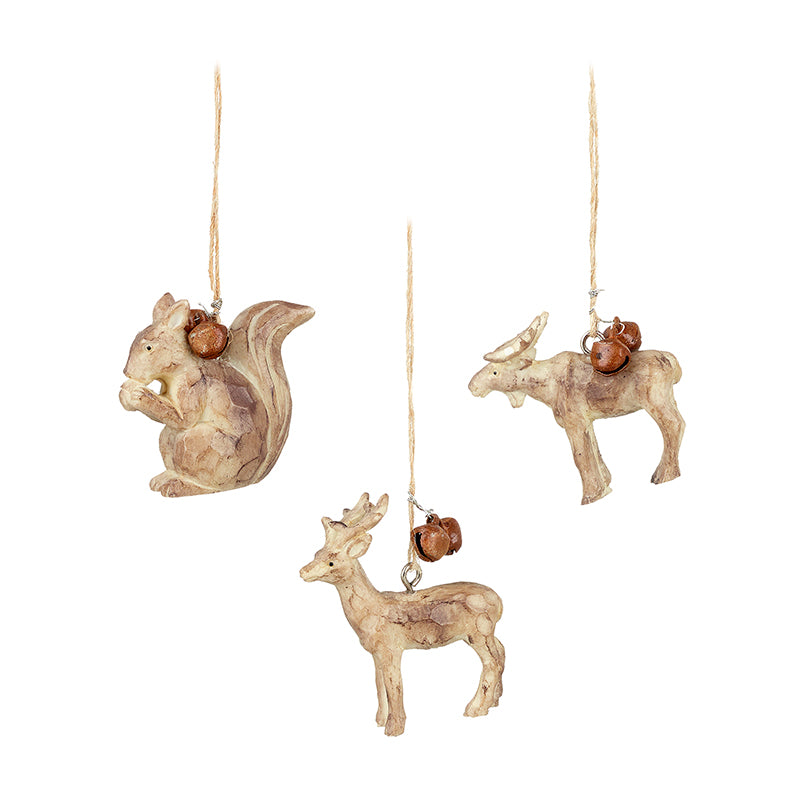 Animals with Bells Hanging Tree Decoration Set