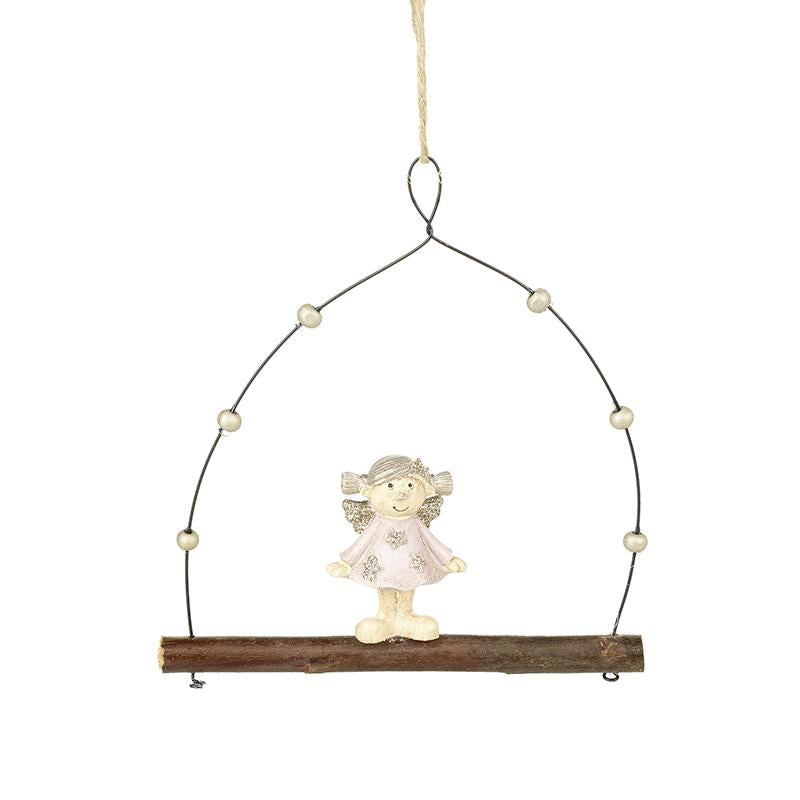 Hanging Resin Angel On Twig Swing
