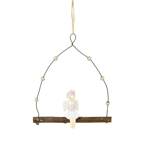 Hanging Angel On Wood Swing