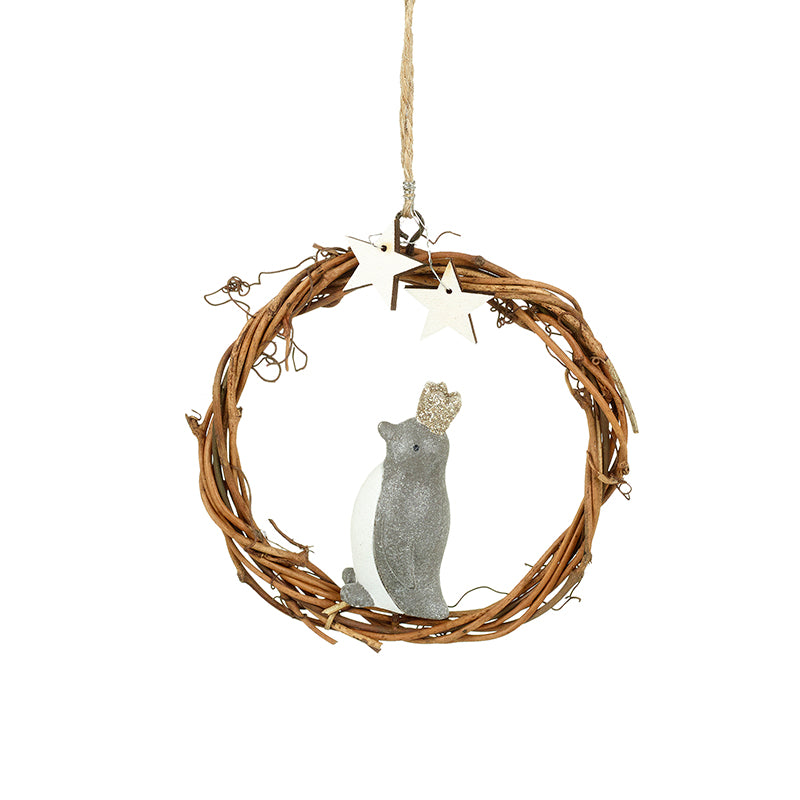 Hanging Penguin in Wicker Circle Tree Decoration