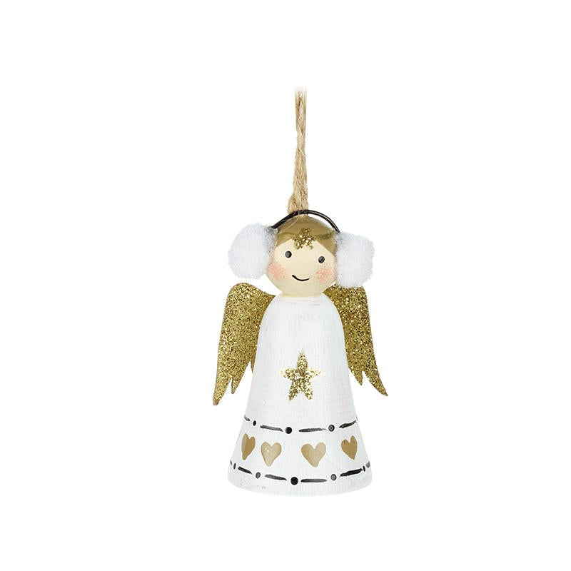 White & Gold Hanging Angel With Earmuffs