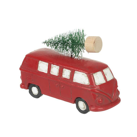 Red Campervan Carrying Christmas Tree