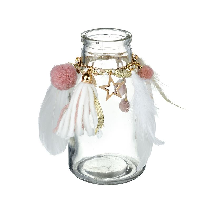 Small Bottle With Feathers And Pompoms