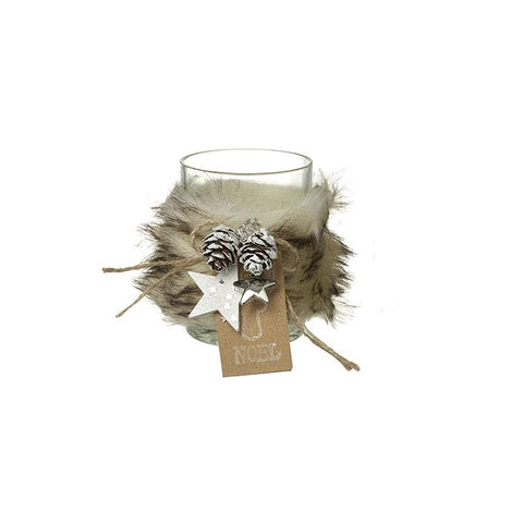 Small Fur Decorated Glass T-Light Holder