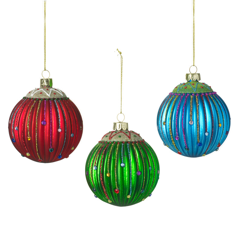 Hanging Glass Bauble Mix Red Green and Blue