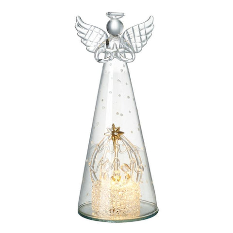 Large Glass Angel With Light Up Nativity