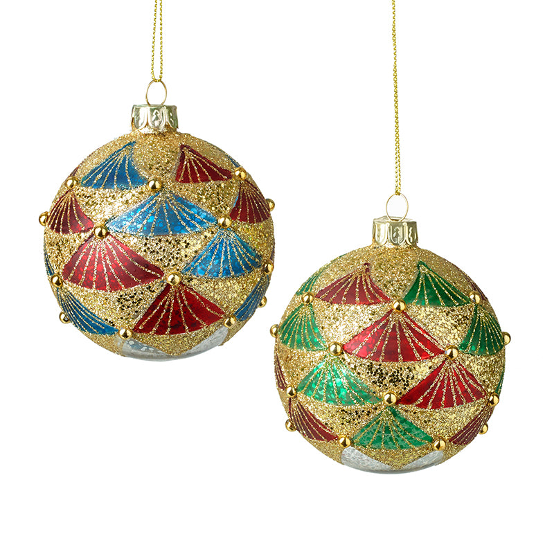 Red Green & Blue Glitter Baubles