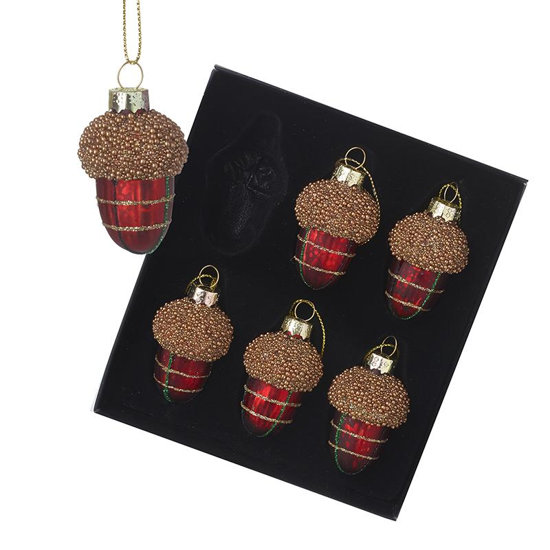Tartan Glass Hanging Acorn Baubles Set