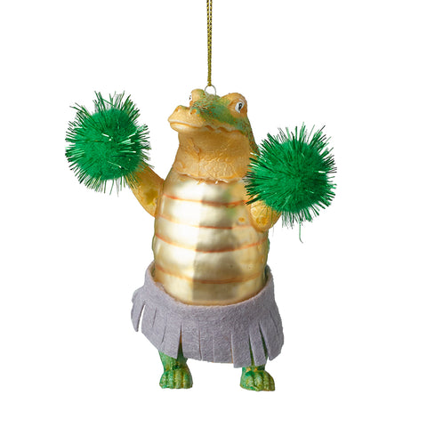 Glass Crocodile Cheerleader with Pom Poms Tree Decoration