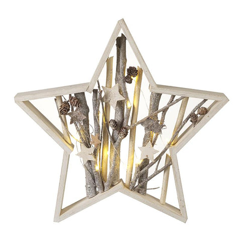 Wooden Star Frame With Led Light