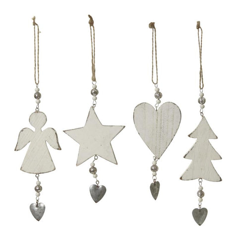 Wooden Hanging Angel And Heart Mix
