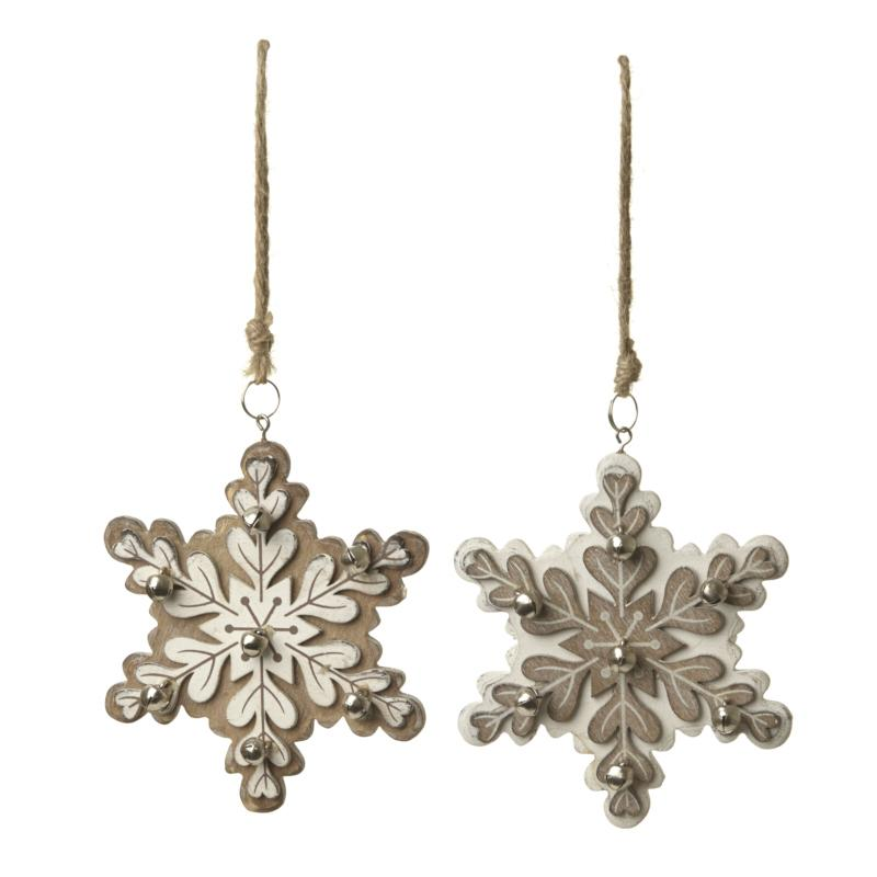 Mix Of 2 Wooden Hanging Snowflake