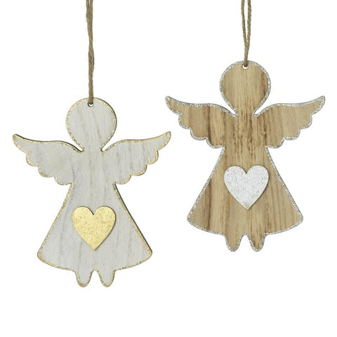 Mix Of 2 Hanging Wooden Angel
