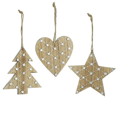 Mix Of 3 Heart Tree Star Wooden Hangers