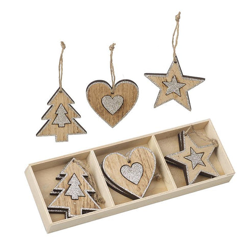 Set Of 9 Heart Tree Star Wooden Hangers
