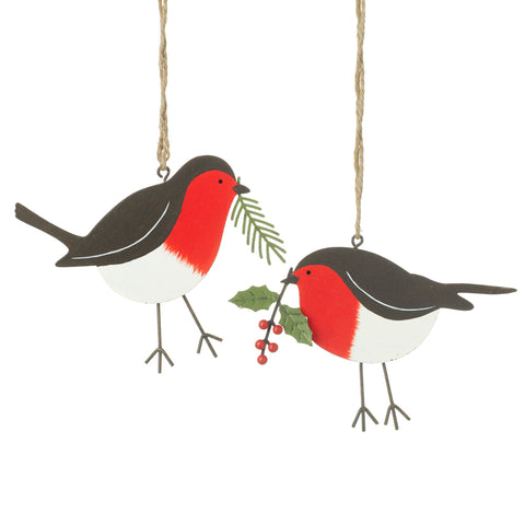 Mix of 2 Metal Robin Hangers