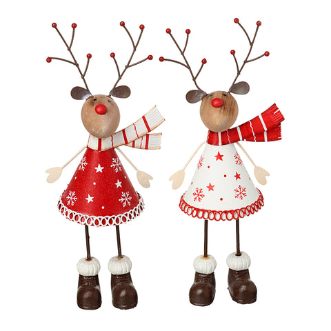 Red & White Metal Deer With Scarves