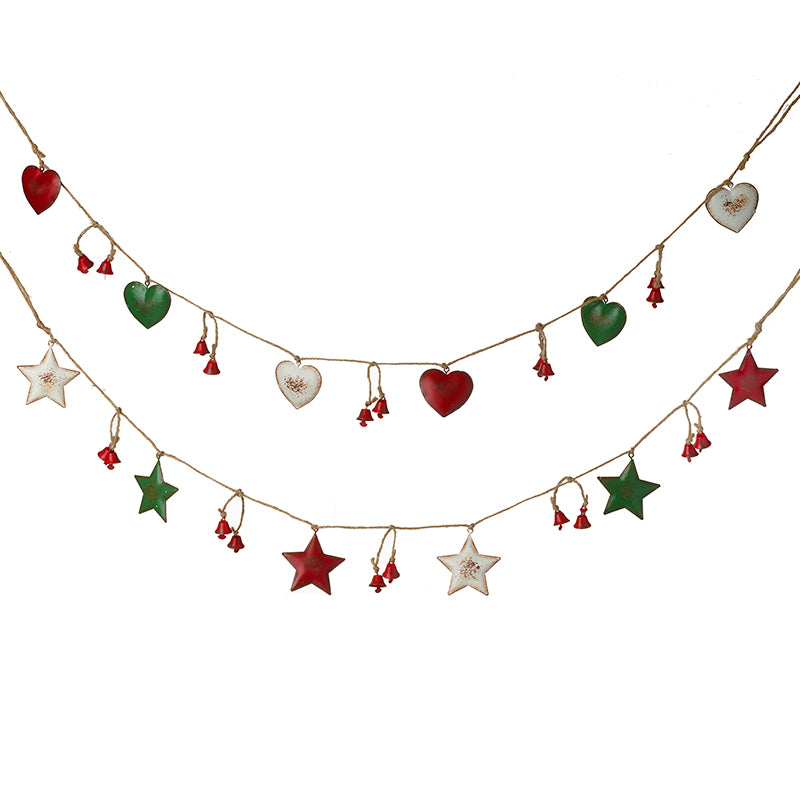 Red White Green Heart & Star Garland