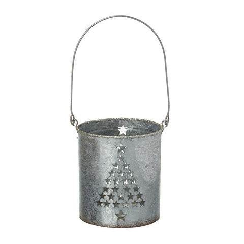 Metal T-Light Holder With Tree Cutout