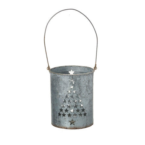 Large Metal Tea Light Holder with Christmas Tree Design