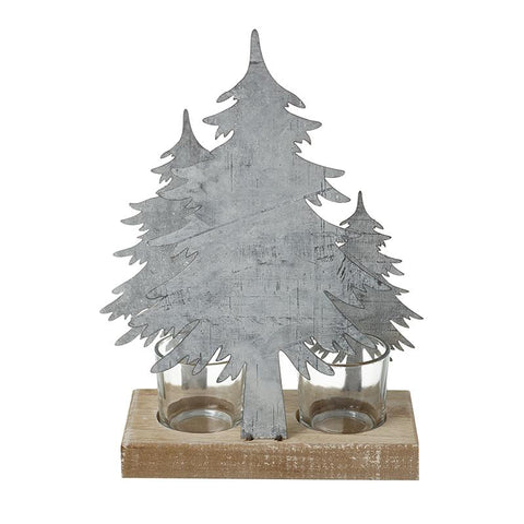 Metal & Wood Tree T-Light Holder