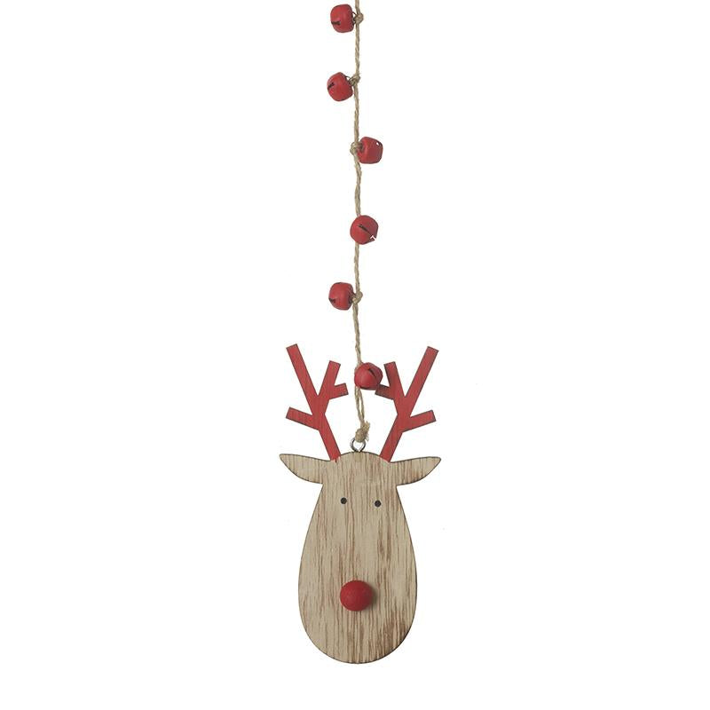 Wooden Reindeer Head With Red Antlers