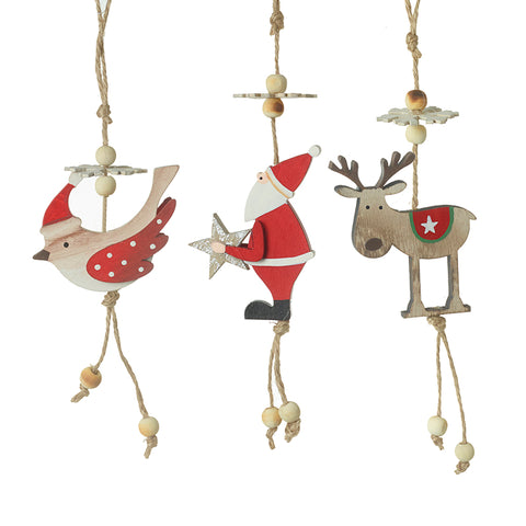 Bird Deer Santa Wooden Hanging Decorations