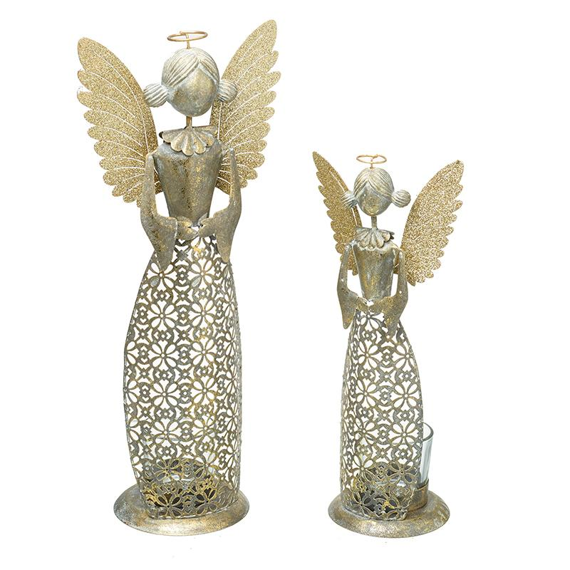 Gold Metal Angel T-Light Holder Set
