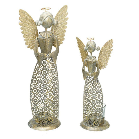Gold Metal Angel Tea Light Holder Set