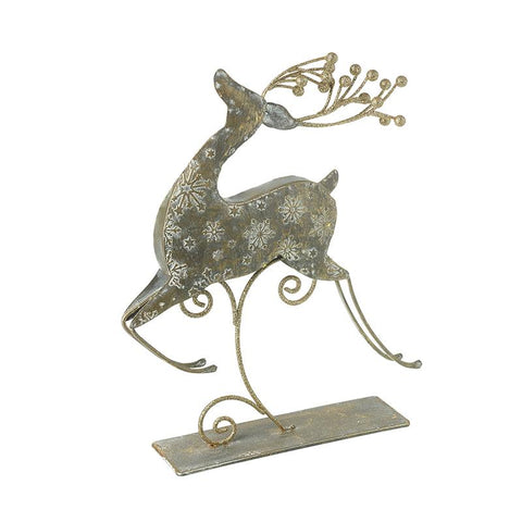 Small Metal Jumping Reindeer On Stand