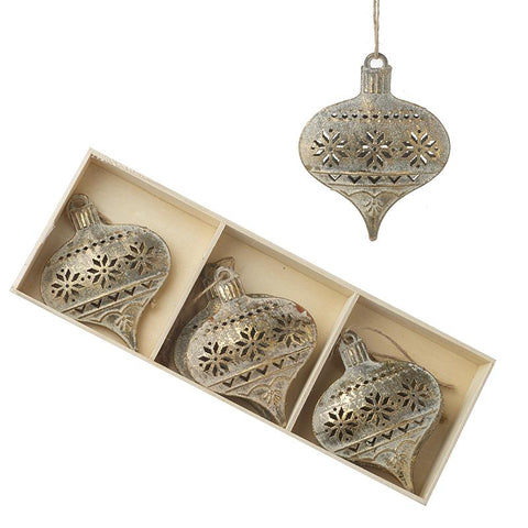 Gold Cut Out Metal Baubles Set